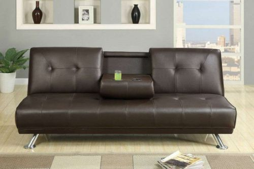 Sunset Expresso Faux Leather Futon Adjustable Sofa Bed w/ Fold-down Cup Holders