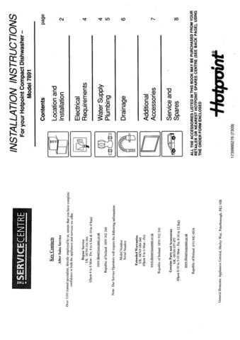 Hotpoint 7891 Dishwasher Operating Guide by download Mauritron #313339