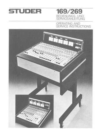 Studer 169-269_Service Manual & Operating Guide by download Mauritron #313158