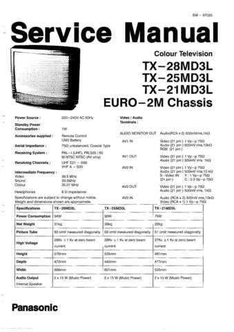 Panasonic TX-28MD3 Manual by download Mauritron #302514