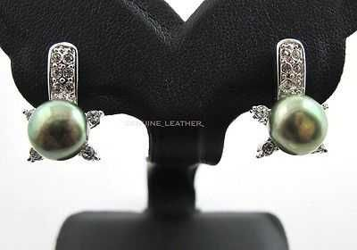 GREEN NATURAL PEARL EARRING & WHITE CZ STERING 925 SILVER NEW PLATINUM JEWELRY