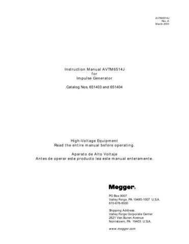 Megger 651404 Operating Guide by download Mauritron #310103