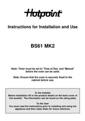 Hotpoint BS61 MK2 48280015905 Operating Guide by download Mauritron #311888