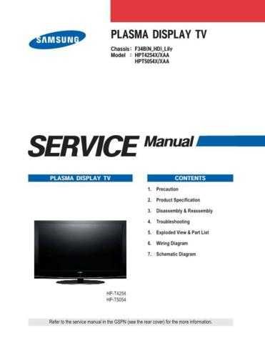 Samsung F34B N HD Lily Chassis Television Service Manual by download Mauritron #32217