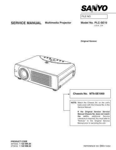 Sanyo PLC-SE10 Service Manual by download Mauritron #328900