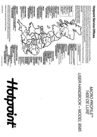 Hotpoint 9585 Washer Operating Guide by download Mauritron #307443