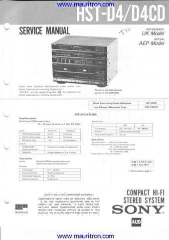 Sony HST-D4 Manual by download Mauritron #318221