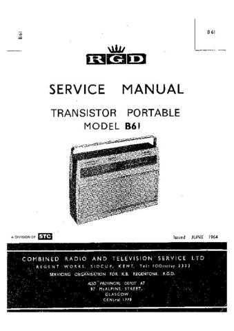 RGD. B61. Vintage Wireless. Service Data. by download Mauritron #306201