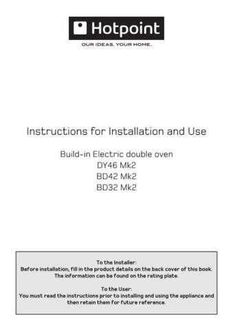 Hotpoint BD32MK2 BD42SSMK2 DY46MK2 19505968900a Operating Guide by download Mauritron