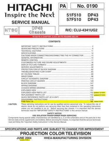 Hitachi PA0190 Service Manual by download Mauritron #323287