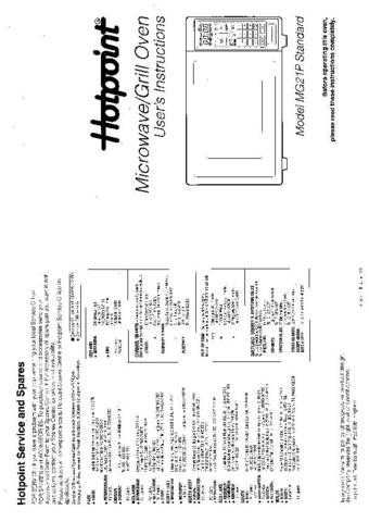 Hotpoint MG21P Microwave Oven Operating Guide by download Mauritron #309937