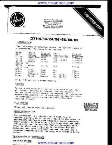Hoover D7xxx Series Manual by download Mauritron #311855