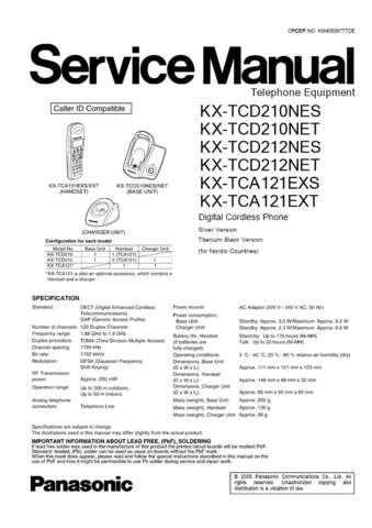 Panasonic TCD210NE(1) Manual by download Mauritron #301981