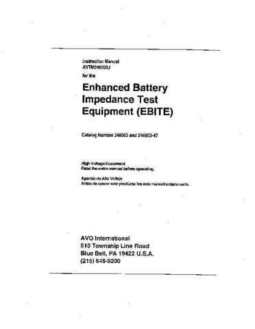 Biddle EBITE Operating Guide by download Mauritron #309663