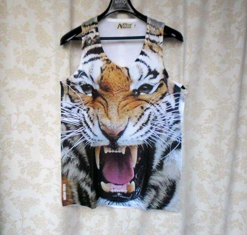 Super TIGER White Fang Animal Print Men Tank top T Shirt Singlet Women New Hot