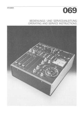 Studer 069_Service Manual & Operating Guide by download Mauritron #313148