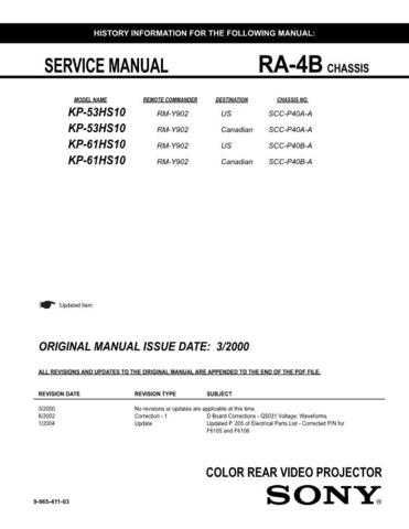 Sony KP61HS10 Service Manual by download Mauritron #332987
