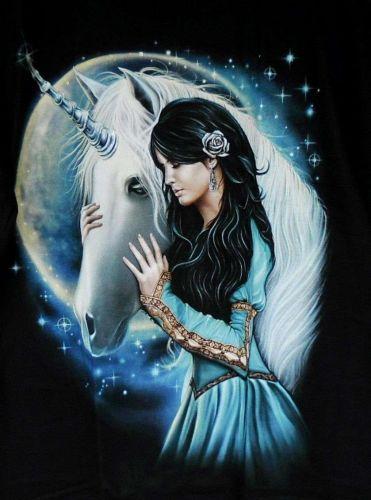 Unicorn Horse Young Fairy Lady Star Night T Shirt Men Women Unisex Black L New