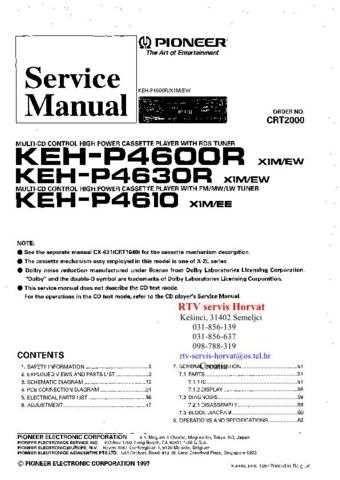 PIONEER KEHP4600R KEHP4630R KEHP4610 CRT2000 . by download Mauritron #312174