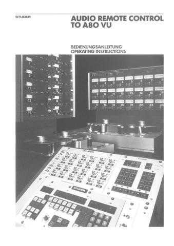 Studer A80VU_AudioRemote_Op by download Mauritron #313106