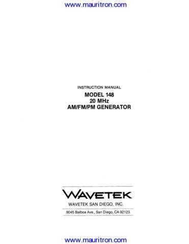 Wavetek 1 Manual by download Mauritron #312700