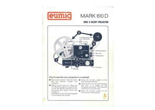 Eumig Mark 610D Projector Operating Guide by download Mauritron #307079