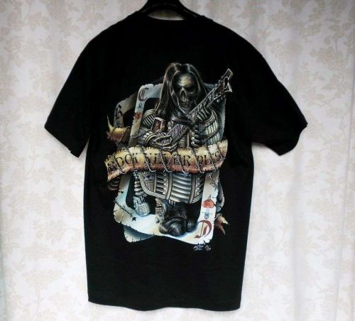 Skull Bone Rock Music Star Never Dies Guitar Tattoo Wire Card T Shirt Black L