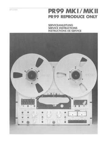Revox PR99 MkI MkII ReproOnly Service Manual by download Mauritron #313073