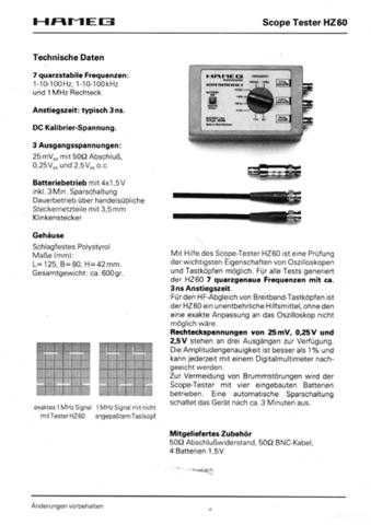 Hameg HZ60 D E Operating Guide by download Mauritron #307323