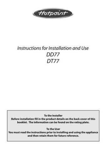 Hotpoint DD77 DT77a Operating Guide by download Mauritron #311937
