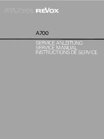 Revox A700 Service Manual by download Mauritron #312187