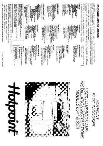 Hotpoint HB6541 Operating Guide by download Mauritron #312052