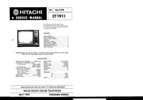 Hitachi CT1913 Service Manual by download Mauritron #284996