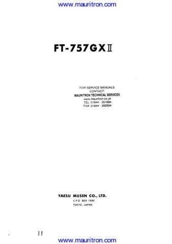 Yaesu FT757GX II Manual Manual by download Mauritron #312709