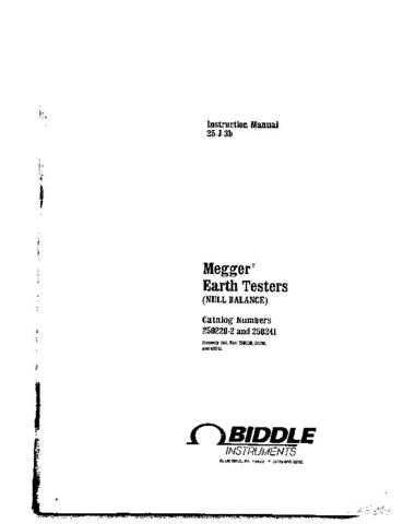 Megger 250261 Operating Guide by download Mauritron #310055