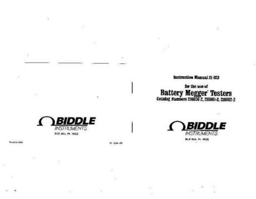 Biddle 212480 Operating Guide by download Mauritron #309283