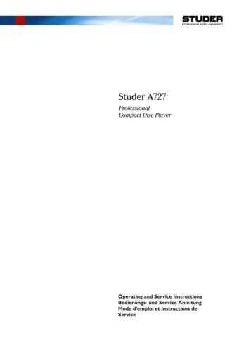 Studer A725-QC_Service Manual & Operating Guide by download Mauritron #313176
