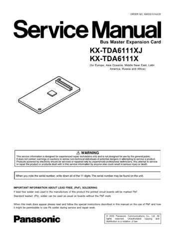 Panasonic TDA6111XJ Manual by download Mauritron #302224