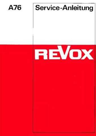 Revox A76 Service Manual D by download Mauritron #312196