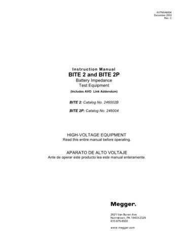 AVO BITE 2 Operating Guide by download Mauritron #308923