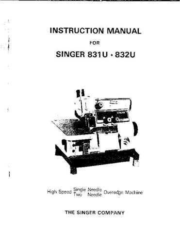 Singer 831U 832U Sewing Machine Operating Guide by download Mauritron #321542