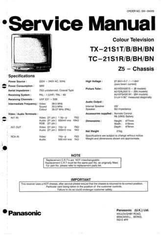 Panasonic TX-21MD3L Manual by download Mauritron #302479
