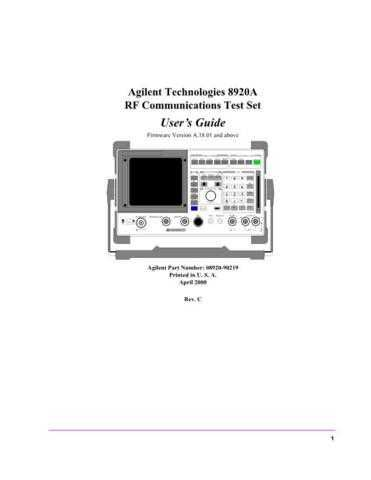 HP 8920A RF Communications Test Set Users Guide 08920-90219 by download Mauritron #30