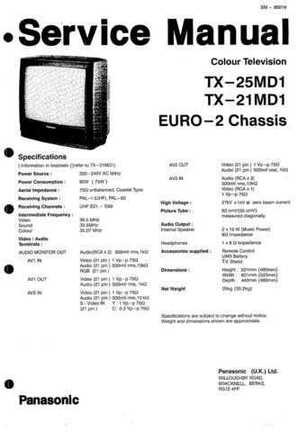 Panasonic TX-21AD2DP Manual by download Mauritron #302472