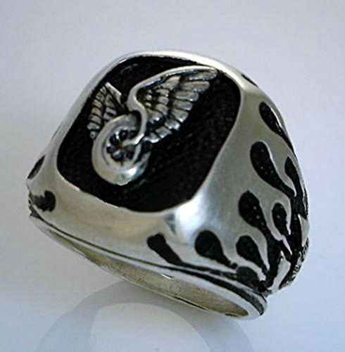 Winged Wheel MC Flame ring Sterling Silver