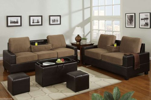 Sofa Loveseat Microfiber Sofa couch 2 Pc Living room set with console #F7508