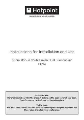 Hotpoint EG94 19505809800 Operating Guide by download Mauritron #311982