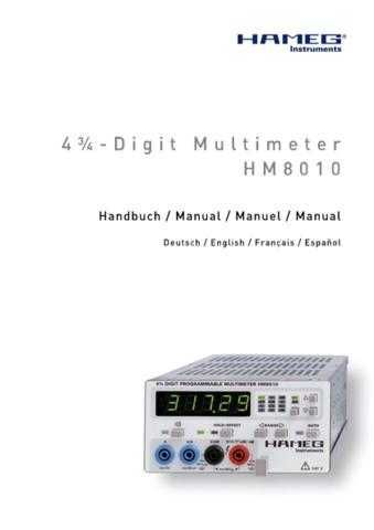 Hameg HM8010 D GB F ES Operating Guide by download Mauritron #307228