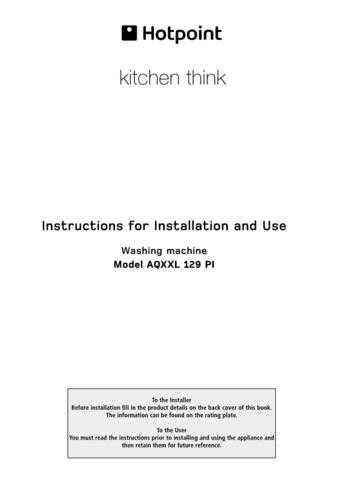 Hotpoint AQXXL129PI 19505633901 Laundry Operating Guide by download Mauritron #313476