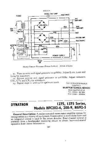 DYNATRON. RG94.. Service Manual. by download Mauritron #329287